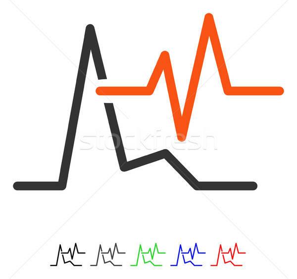 Ekg ikon vektor színes szín fekete Stock fotó © ahasoft