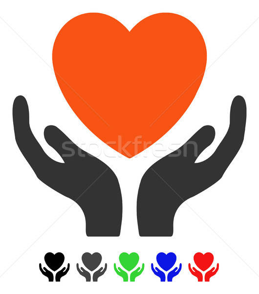 Hart zorg icon gekleurd kleur zwarte Stockfoto © ahasoft