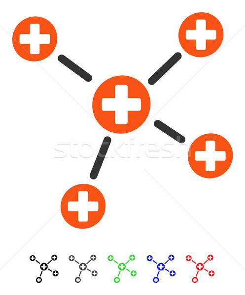 Gyógyszer linkek ikon színes szín fekete Stock fotó © ahasoft