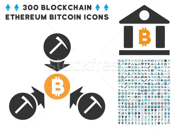 Bitcoin Mining Pool Flat Icon with Collection Stock photo © ahasoft