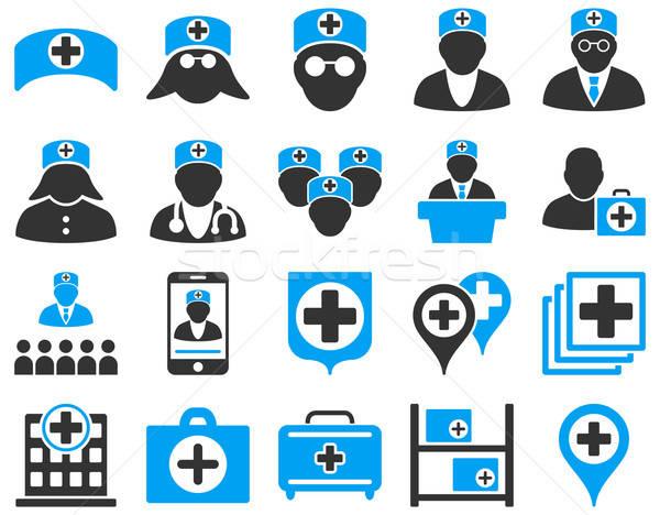 медицинской иконки синий серый Сток-фото © ahasoft