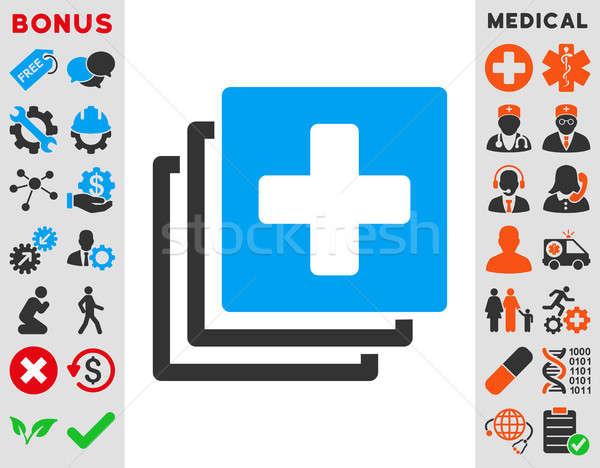 Tıbbi belgeler ikon stil simge mavi Stok fotoğraf © ahasoft