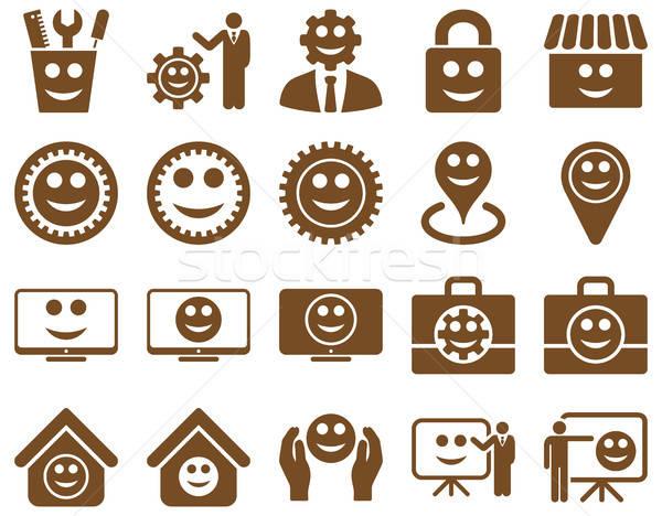 Szerszámok sebességváltó mosoly vezetőség ikonok vektor Stock fotó © ahasoft