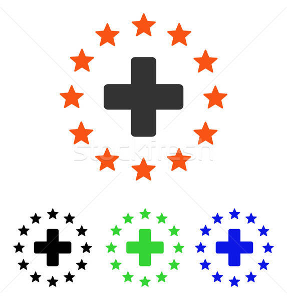 Starred Medical Cross Flat Vector Icon Stock photo © ahasoft