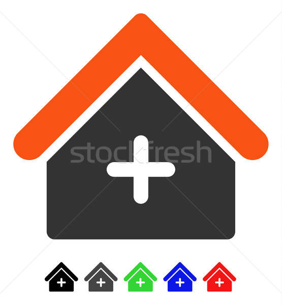 Stock photo: Clinic Building Flat Icon