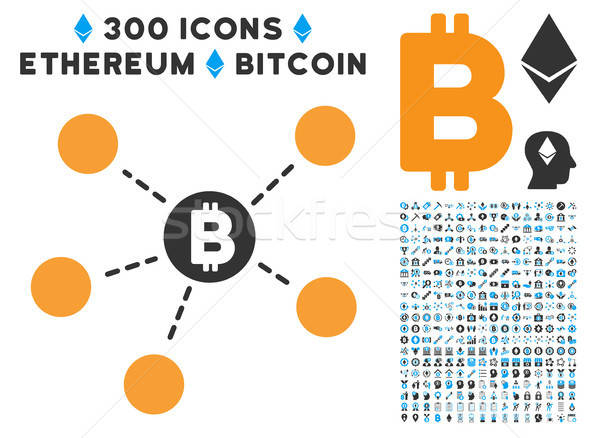 Stock photo: Bitcoin Net Structure Flat Icon with Set