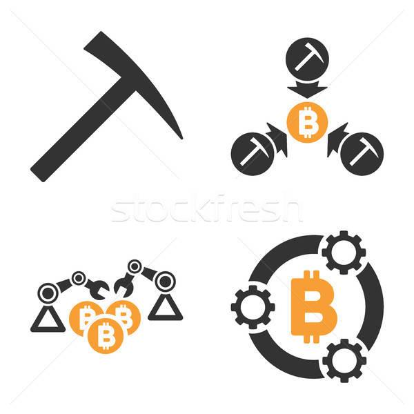 Bitcoin Mining Pool Vector Icon Set Stock photo © ahasoft