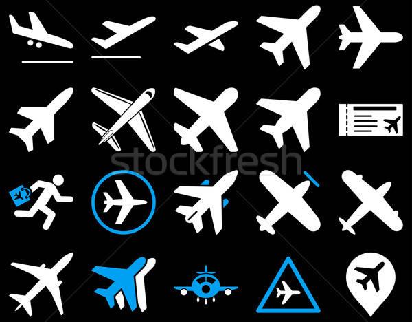 Légi közlekedés ikon gyűjtemény ikonok kék fehér színek Stock fotó © ahasoft