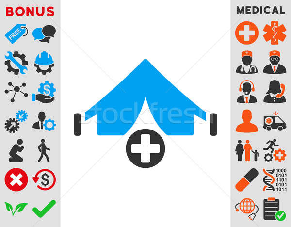 Veld ziekenhuis icon stijl symbool Blauw Stockfoto © ahasoft