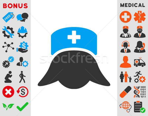 Hastane hemşire kafa ikon stil simge Stok fotoğraf © ahasoft