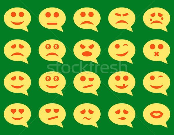 Chat emoción sonrisa iconos establecer estilo Foto stock © ahasoft