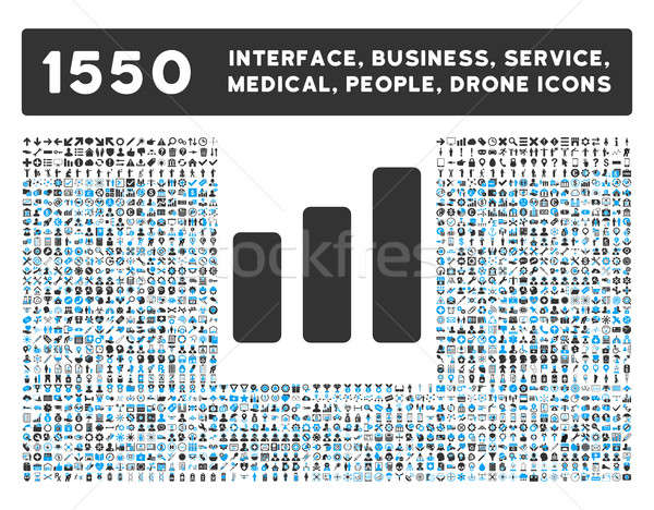 Bar Chart Increase Icon and More Interface, Business, Tools, People, Medical, Awards Flat Glyph Icon Stock photo © ahasoft