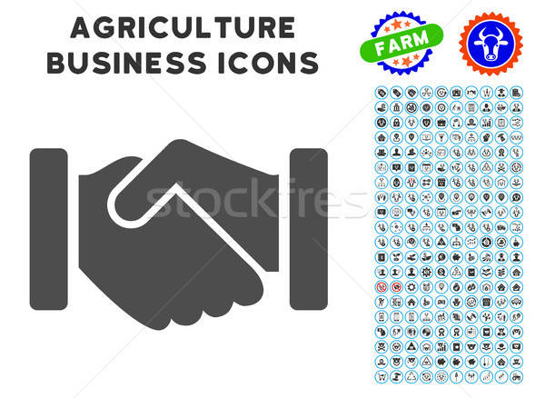 Agreement Handshake Icon with Agriculture Set Stock photo © ahasoft