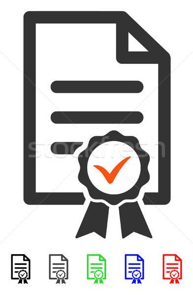 Certifié icône vecteur couleur noir Photo stock © ahasoft