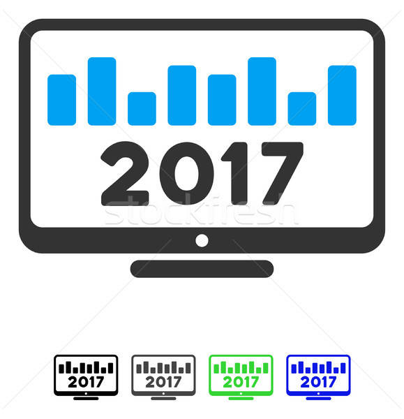 2017 Chart Monitoring Flat Icon Stock photo © ahasoft