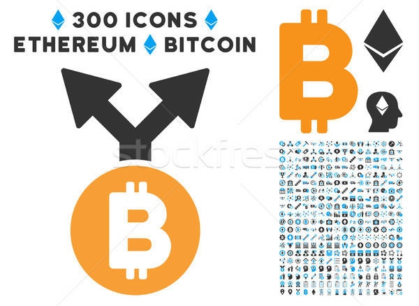 Bitcoin Fork Flat Icon with Clip Art Stock photo © ahasoft