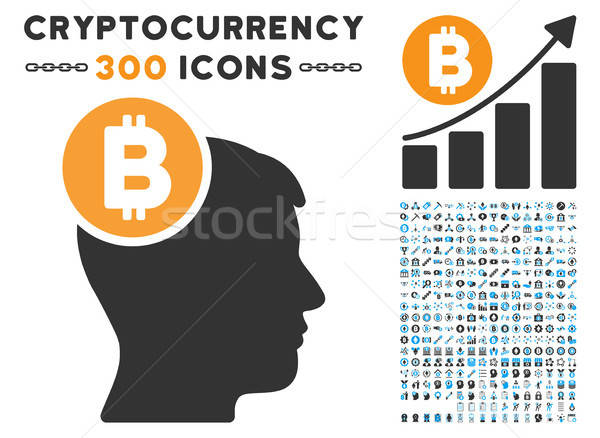 Bitcoin Mind Head Flat Icon with Stock photo © ahasoft