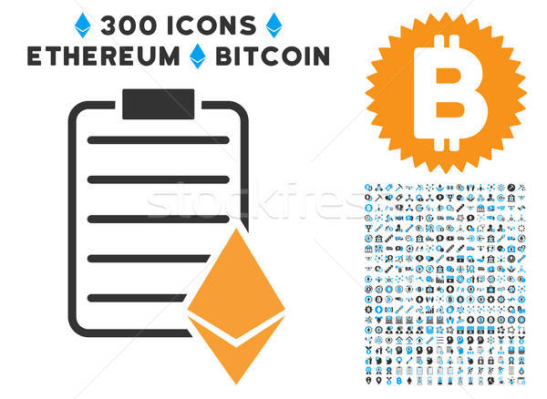 Ethereum Contract Flat Icon with Collection Stock photo © ahasoft