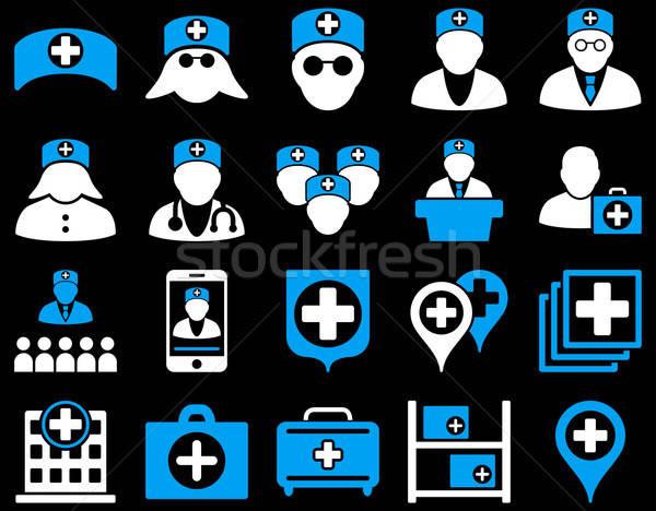 Orvosi ikon gyűjtemény stílus ikonok rajzolt kék Stock fotó © ahasoft