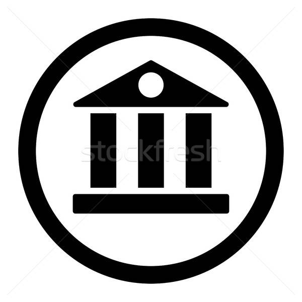 Bank flat black color rounded vector icon Stock photo © ahasoft