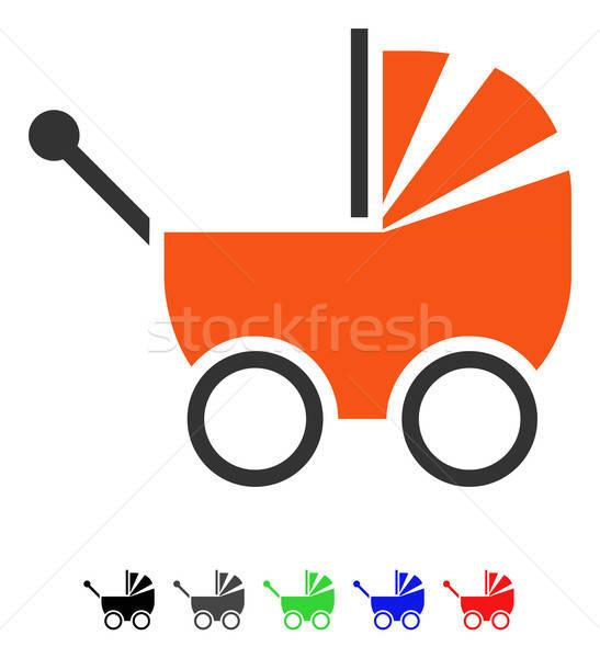 Kinderwagen icon vector pictogram gekleurd kleur Stockfoto © ahasoft
