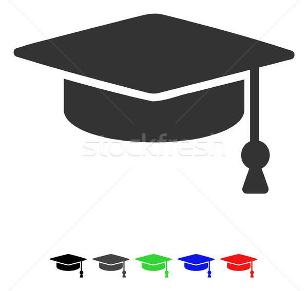 Graduação boné ícone vetor pictograma Foto stock © ahasoft