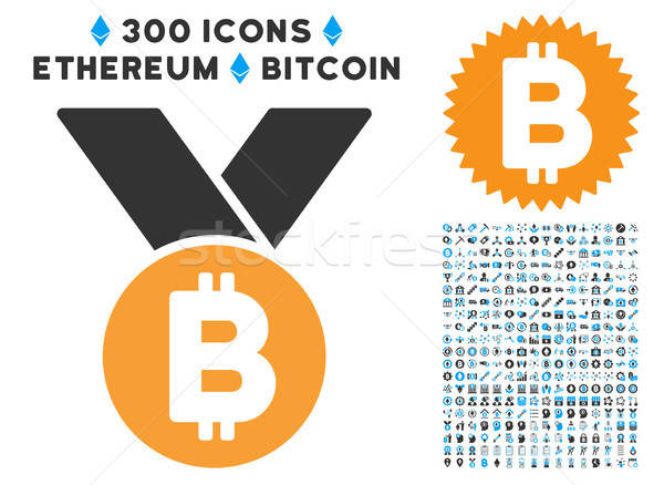 Bitcoin Medal Flat Icon with Collection Stock photo © ahasoft