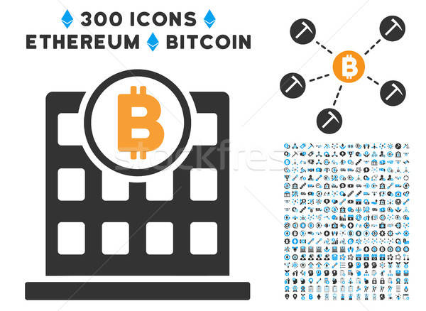 Bitcoin Office Flat Icon with Collection Stock photo © ahasoft
