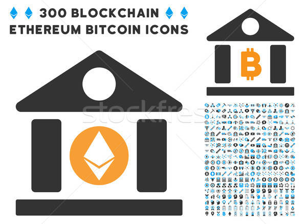 Ethereum Corporation Building Flat Icon with Set Stock photo © ahasoft