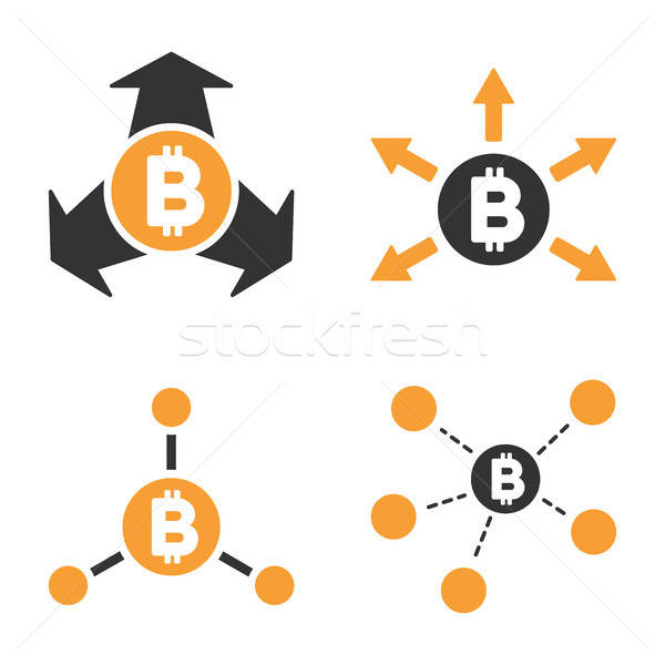 Bitcoin vektor ikon gyűjtemény stílus pénzügy gazdaság Stock fotó © ahasoft