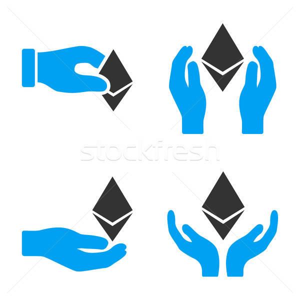 Ethereum Offfer Hands Vector Icon Set Stock photo © ahasoft