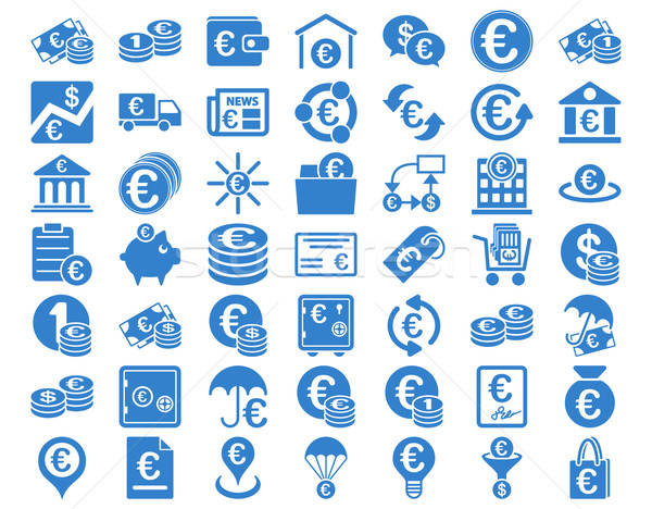 Euro bankacılık simgeler kobalt renk vektör Stok fotoğraf © ahasoft