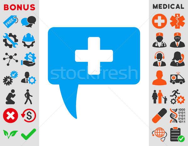 Médico responder ícone estilo símbolo azul Foto stock © ahasoft