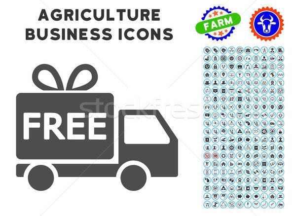 Ingyenes szállítás ikon mezőgazdaság szett szürke üzlet Stock fotó © ahasoft