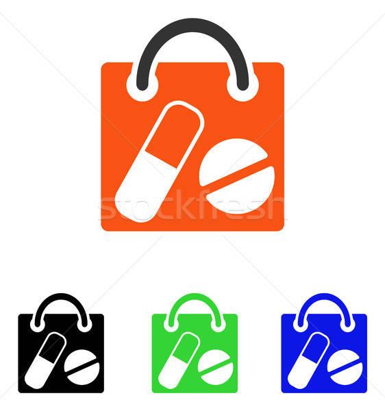Stock fotó: Drogok · bevásárlószatyor · vektor · ikon · illusztráció · stílus
