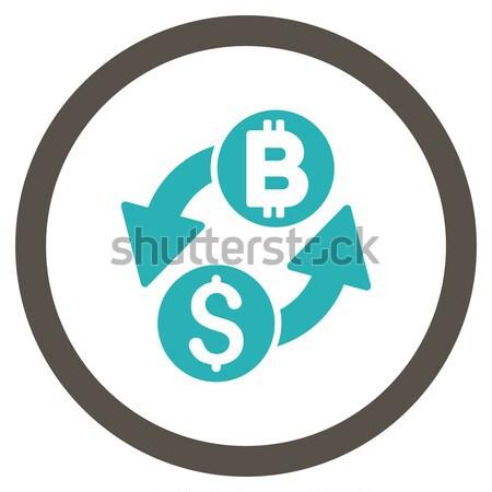 Bitcoin mikser rotasyon ikon vektör resim yazı Stok fotoğraf © ahasoft