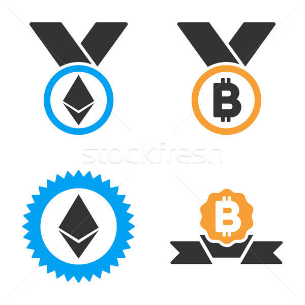 Cryptocurrency Medal Vector Icon Set Stock photo © ahasoft