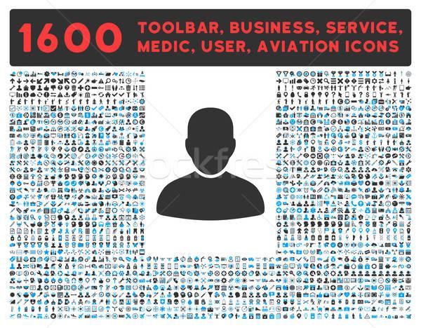 клиентов икона большой пиктограммы коллекция вектора Сток-фото © ahasoft
