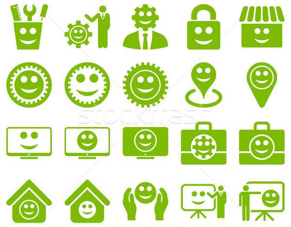 Stockfoto: Tools · versnellingen · glimlacht · beheer · iconen · ingesteld