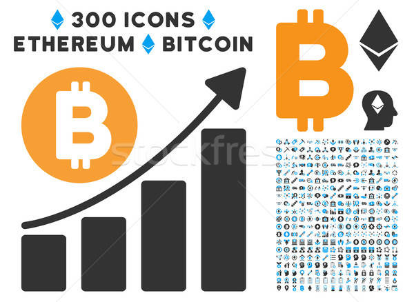 Bitcoin Bar Chart Trend Flat Icon with Collection Stock photo © ahasoft