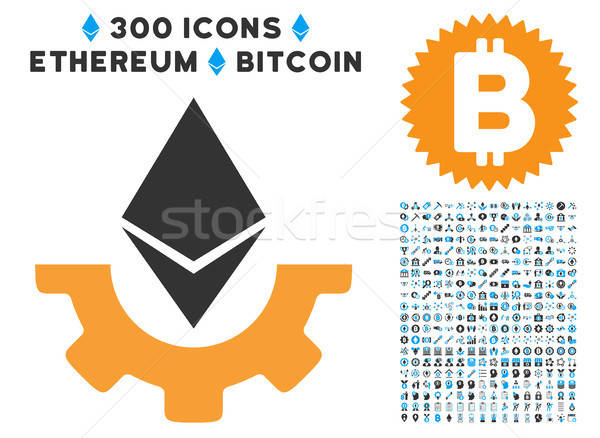 Ethereum Industry Gear Flat Icon with Stock photo © ahasoft