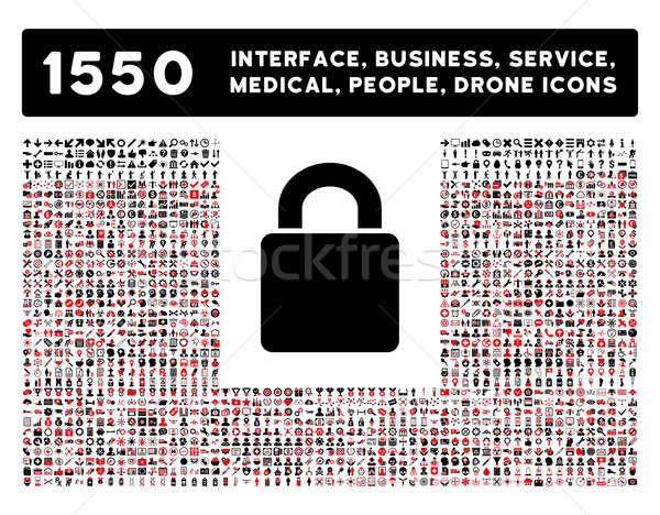 Lock Icon and More Interface, Business, Tools, People, Medical, Awards Flat Glyph Icons Stock photo © ahasoft