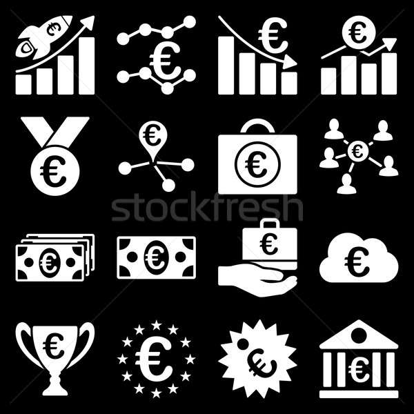 Euros bancaires affaires Ouvrir la outils icônes Photo stock © ahasoft