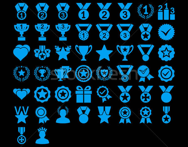 конкуренция иконки синий цвета вектора Сток-фото © ahasoft