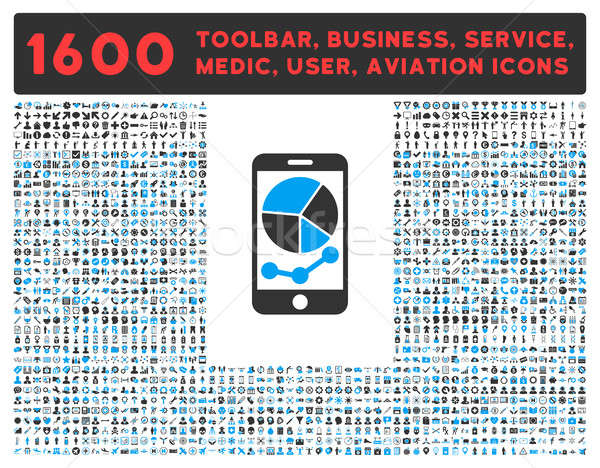 Mobile Graphs Icon with Large Pictogram Collection Stock photo © ahasoft