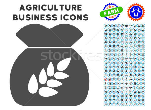 Gabona aratás ikon mezőgazdaság szett szürke Stock fotó © ahasoft