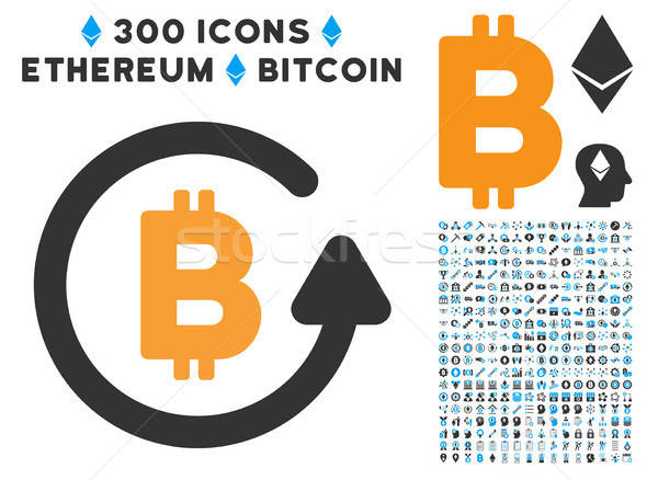 Bitcoin Refund Flat Icon with Set Stock photo © ahasoft