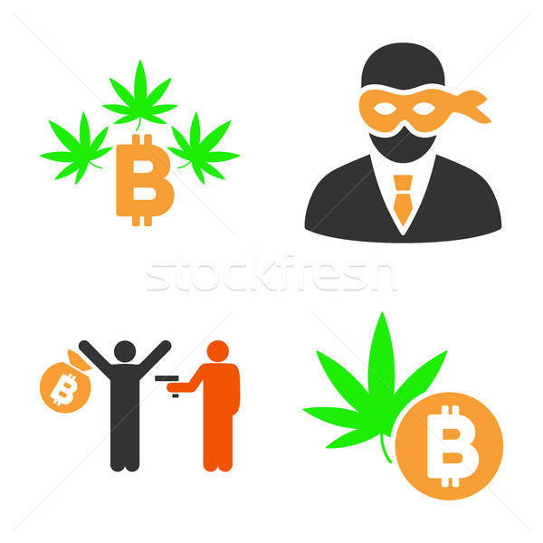 Bitcoin Crime Vector Icon Set Stock photo © ahasoft