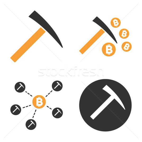 Bitcoin Mining Vector Icon Set Stock photo © ahasoft