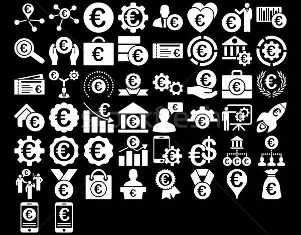 Euro działalności ikona biały kolor wektora Zdjęcia stock © ahasoft